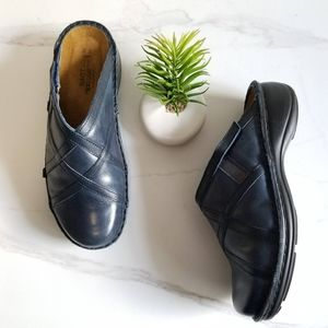 NAOT Clog Mules Blue Leather Slip On Comfort Shoes